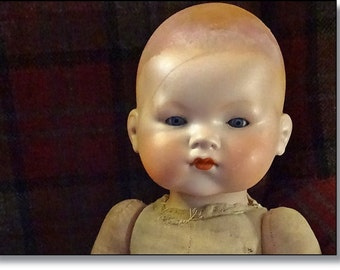 Large Armand Marseille Bisque Baby Doll, Crys Ma-ma, Closed Mouth, Mould Number 341.18, My Dream Baby, Original Mama Box Intact