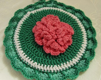 Crocheted Hot Mat Trivet Pot Holder 100% Cotton Yarn Double Thickness Geranium Adornment