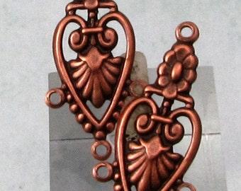 Antique Copper 3 Loop Connector,  2 Pc. AC189