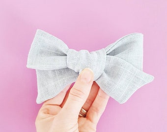 Gray Linen Hand-tied Simple Fabric Bow Nylon Elastic or Alligator Clip
