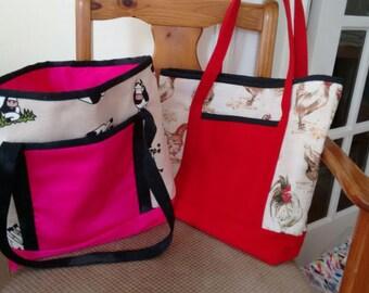 Farmyard Shopper bag, Farmer Handbag, Cow sheep chicken bag