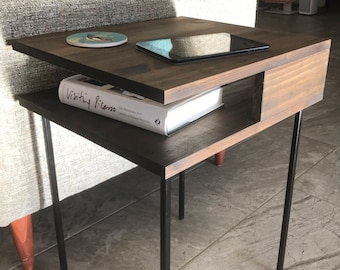 """Modern Nightstand """"Minimal"""" Side Table, Mid Century, End Table, Hairpin Legs, Sofa Table, Corner Table, Square"""