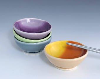 Ceramic Sauce Bowl, Porcelain Soy Sauce Dish, One Small Ceramic Bowl, Orange Ombré Sauce Bowl, Ceramic Ring Dish, Wheel Thrown Pottery Bowl