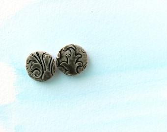 Black floral tiles stud earrings. Faux Ceramic technique. Australian handmade . Gift for her. Hypoallergenic.