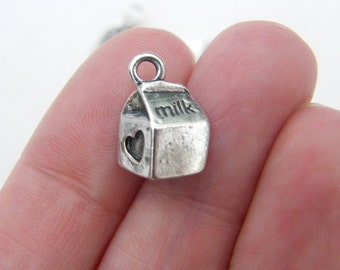 6 Milk carton charms antique silver tone FD109