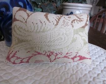 Primitive Antique Coverlet Pillow With A Rare Bird