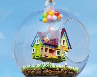 Sale 12cm Hanging Glass Terrarium Kit, DIY UP Glass House, Dollhouse Kits