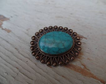 Antique Sterling Silver 0925 Turquoise Brooch