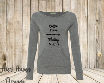 Coffee days, Whiskey Nights Wideneck eco fleece sweatshirt