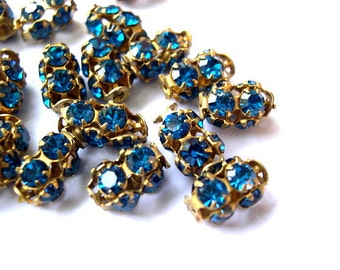 2 Vintage SWAROVSKI beads blue rhinestones crystals in metal setting genuine 1100 made in Austria