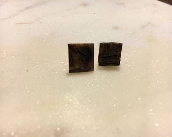 Small Distressed Wooden Earrings