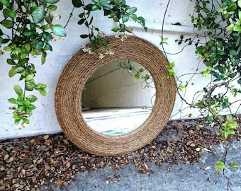Large manila rope mirror cottage chic beach chic coastal decor- nautical mirror -rustic mirror