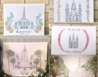 ANY LDS Temple Custom Watercolor
