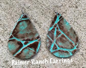 Tortise hide earrings, leather earrings, custom made earrings, earrings, Teardrop earrings,
