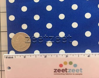 "Half Yard Remnants COBALT BLUE & White 1/4"" POLKA DotRobert Kaufman Pimatex Cotton Quilt Dress Fabric 1/2 Yard Precut"