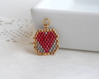 Red beaded heart charm, Red heart charm, Red silver heart charm, Heart charm pendants, Red heart charm for jewelry making