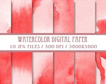 Red Watercolor Digital Paper ( Instant Download )