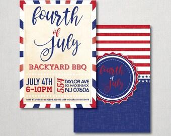 Fourth of July Backyard BBQ Invitation - Fourth of July - 4th of July - BBQ Invitation - Backyard BBQ - Fourth of July Invitation