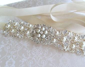 Silver wedding sash bridal belt rhinestone wedding dress sash pearl bridal belt crystal sash pearl, pearl ivy collection