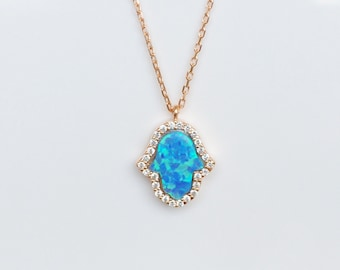 Opal Hamsa Necklace, in Sweet Rose Gold Plated 925 Sterling Silver and Zirconia