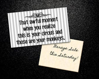 "Magnet ~ ""That awful moment when you realize this IS your circus and those are your monkeys."", Mom Gift, Teacher Gift, Polka Dots"
