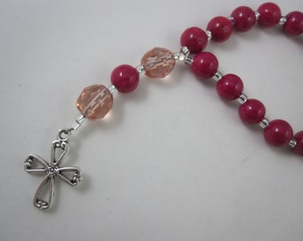 Hot Pink Riverstone and Light Rose Fire-Polished Glass Chaplet