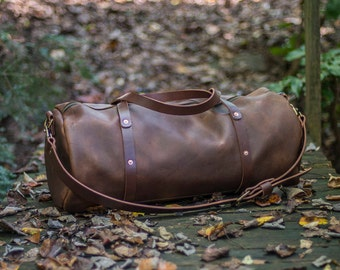 Leather Duffel Bag - William Duffle - Large Zippered Leather Duffle