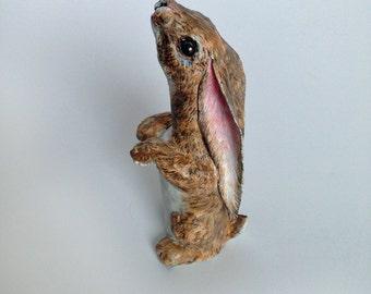 Small Paper Mache Rabbit Sculpture Made From Hot Sauce Bottle