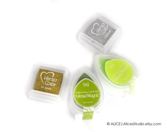 Ink Pads - Ink Pads for Fingerprint Guest Book - Gold - Silver - Tea Leaves - Key Lime