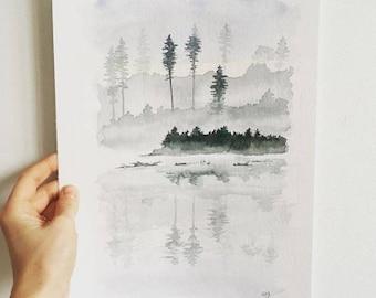 original watercolor painting of Misty landscape
