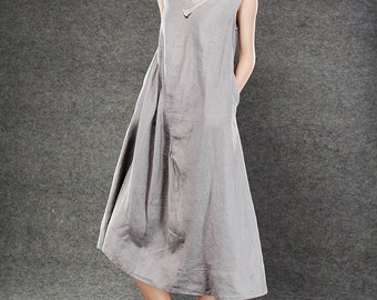 Gray Linen Dress - Lagenlook Midi Length Sleeveless V-Neck Loose-Fitting Plus Size Womens Dresses Handmade Clothing (C071)