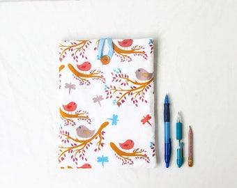 Fabric Ipad cover, bird print fabric, padded tablet case, Ipad Air cozy, woodland fabric, Ipad 2 case, handmade in the UK
