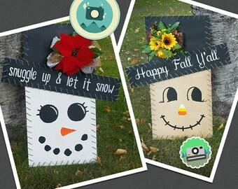 Reversible Scarecrow/Snowman Sign