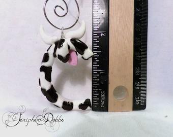 Unique Handmade Alphabet Letter Ornament: Cow