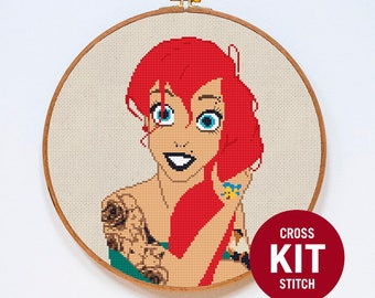 Ariel Cross Stitch Kit, Disney Princess Cross Stitch Kit, Modern Cross Stitch Kit, Modern Couned Cross Stitch Pattern Instructions