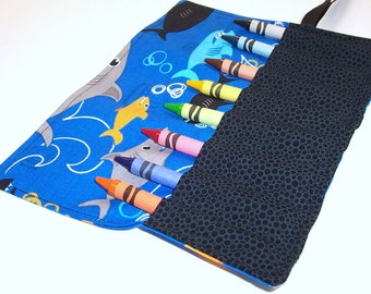 Crayon Roll - SHARKS Crayon Roll Up - Kids - Stocking Stuffer - Party Favor