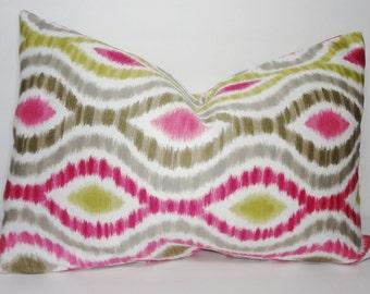 Raspberry Ikat Lumbar Pillow Cover Decorative Pillow Ikat lumbar Throw Pillow Cover 12x20