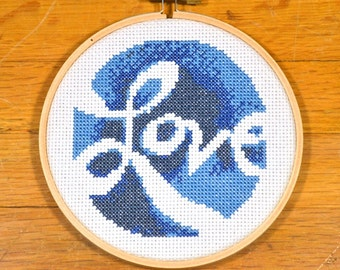 easy cross stitch pattern love, PDF *instant download*