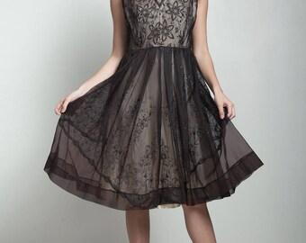 vintage 50s 1950s overlay dark brown floral sheer dress glitter pleated LARGE L