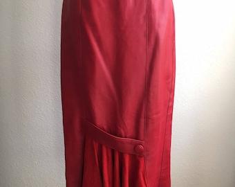 "Christian Lauren 1980s Vintage Red Leather Skirt 28""in waist A-Line Mermaid"
