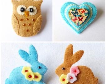 Brooch Pin pdf Patterns, Owl Brooch, Heart Button Brooch, Bunny Brooch