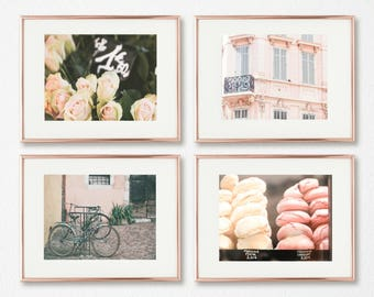Nursery Wall Art // French Nursery Decor // Gallery Wall Prints // Paris Photography // Pink Wall Art // Nursery Art // Set of 4 Prints