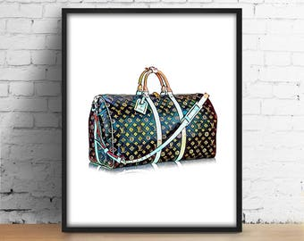 LV Bag print Louis Vuitton Bag digital print Fashionista printable wall art Illustration Fashion watercolor decor Girl Room poster