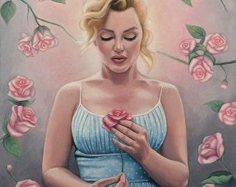 Marilyn Monroe Oil Painting - Fine Art Giclee Print by Emily Luella