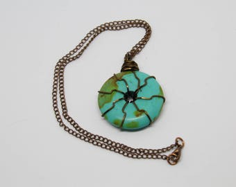 Wire wrapped turquoise donut stone pendant necklace, antique copper chain