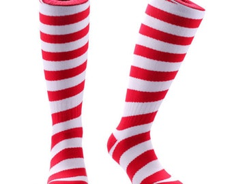 Samson® Candy Cane Christmas Socks Knee High Thick Stockings Festive Seasonal Winter Thermal Cosy Warm