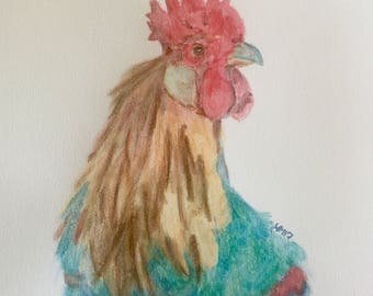 Watercolor Pencil Rooster Original one of a kind 9 x 12 Art