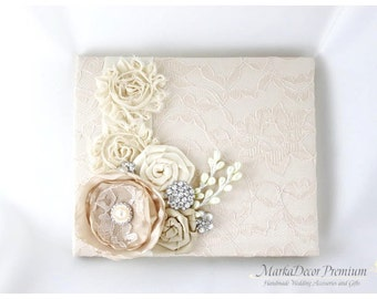 Ready To Ship Champagne Guest Book, Lace Guest Book, Ivory Wedding Book, Birthday Book, Signature Book, Brooch Guest Book, Beaded Guest Book