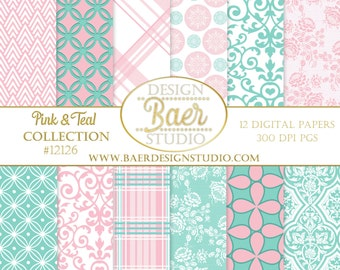 Pink Damask Digital Paper:Pink and Teal Digital Paper, Pink and Blue Digital Paper, Pink Lace Digital Paper, Pink Plaid Digital Paper, 12126
