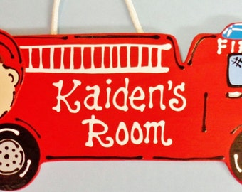 Personalized FIRE TRUCK Kid's Room Door SIGN Wall Firetruck Engine Plaque Wood Wooden